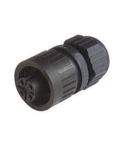 connector 3 polig + aarde female 10A/250V recht Hirschmann CA3LD zwart