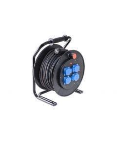 Kabelhaspel H07RN-F 3G1,50mm² 4x Schuko - 50 meter Keraf zwart