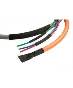 Gevlochten PE/PET krimpkous 29 mm - 15 meter Alpha wire FITFAB3 zwart