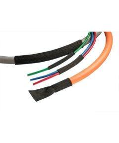 Gevlochten PE/PET krimpkous 19 mm - 15 meter Alpha wire FITFAB2 zwart