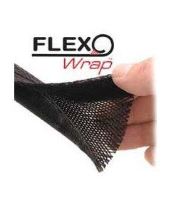 Polyesterkous met klittenbandsluiting - 30.50 meter Alpha wire FWN1.25BK zwart
