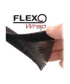 Polyesterkous met klittenbandsluiting - 30.50 meter Alpha wire FWN2.00BK zwart