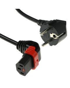 IEC Lock aansluitkabel C13 Lock+ boven - Schuko haaks zwart