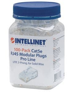 RJ45 connectoren Cat.5E UTP voor massieve aders - 100 stuks Intellinet 790512 transparant