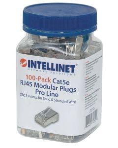 RJ45 connectoren Cat5e STP voor massieve en soepele aders - 100 stuks Intellinet 790529 zilver
