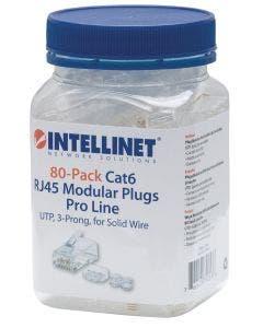 RJ45 connectoren Cat.6 UTP voor massieve aders - 80 stuks Intellinet 790536 transparant